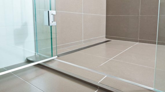 tiled shower features channel drain, Marmox hobs, Marmox multiboard