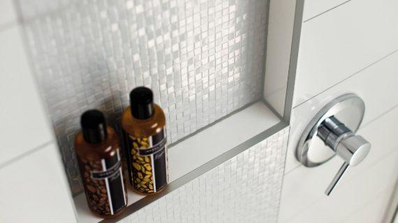 Marmox tiled shower niche